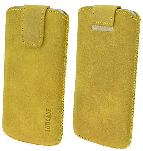 Original Suncase® Etui Tasche für   iPhone 8 / iPhone 7 / iPhone 6s / iPhone 6 (4.7 Zoll)   Leder Etui Handytasche Ledertasche Schutzhülle Case Hülle *Lasche mit Rückzugfunktion* antik-lachsrosa antik-senfgelb