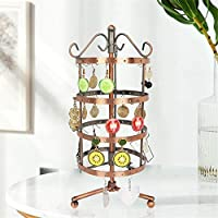 Jewelry Display Stand,Hanging Jewelry Organizer Display Holder with Ring Tray to Organize Necklaces Bracelets Earrings Rings and Watches Metal Rotary Detachable Display Props Bronze