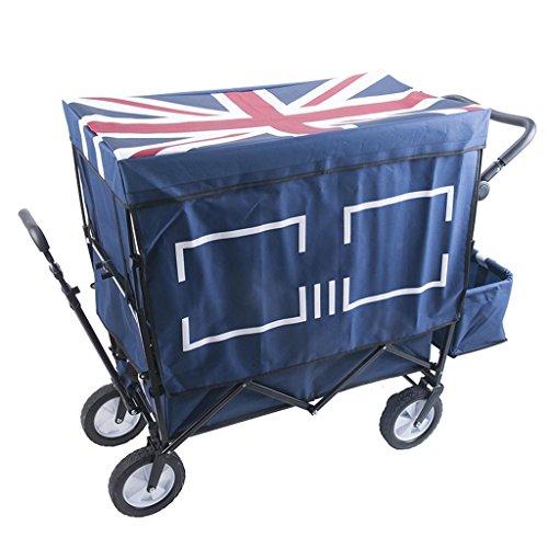 Hand-LKW DELLT- Haushalts-Kindereinkaufswagen, kampierendes tragbares Falten ziehen den LKW, Vierrad im Freien mit Stoff-Abdeckungs-Laufkatze, Last 120kg (Farbe : Blau) (Blaue Markise Tag)