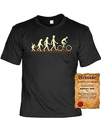 T-Shirt - Evolution Fahrrad - Hochwertiges Motiv Shirt als Geschenk für Radfahrer mit Humor