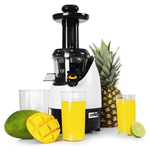 Duronic JE2 Slow Juicer | max. 220 Watt | langsam drehende Kaltpresse | elektrischer Entsafter | Max. Nährwert Frischere Nährstoffe und Vitamine für Obst und Gemüse | 1 L Saftkanne | Umkehrfunktion