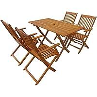 vidaXL Acacia Comedor Plegable Jardín 5 Piezas Muebles Mesa Silla Mobiliario