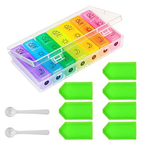ZoomSky Pillenbox 7 Tage Pillendosen 21 Fächer Tablettenbox mit Schutzbox Pillenorganizer für Pillen Aufbewahrung Reise Unterwegs Inclusive Pillen Wocheneinteilung