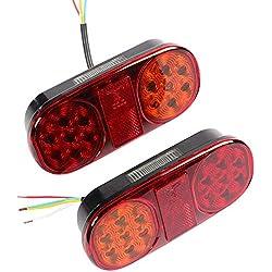 AOHEWEI 2pcs Universel Feux Arrières De Remorque LEDÉclairage Feu De Camion Lampe De Freinage12vImperméable Arrêter L'éclairagepour Camion Remorque Caravane Van Ou Tracteur (14 LED chips-2pcs)