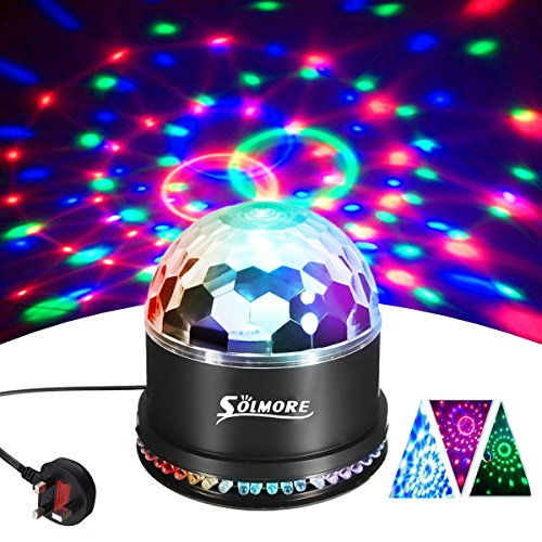 Disco Ball Lights,SOLMORE 51LEDs Disco Light Dj Lights Strobe Light Stage Lights RGB Sound Activated Rotating Crystal Magic Effect For Wedding Birthday Party Club Pub Bar Light Show