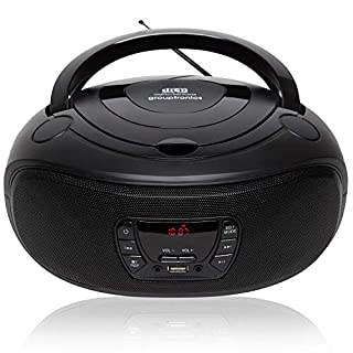 Grouptronics GTCD-501 Portable Stereo CD Player BoomBox And Portable Radio – With USB Port, MP3 Player & AUX IN for Smartphone & Tablet, Mains or Battery
