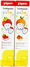 Pigeon Toothpaste, Strawberry and Orange (45g, Pack of 2)