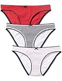 Iris & Lilly Braguita Estilo Bikini de Algodón para Mujer, Pack de 3