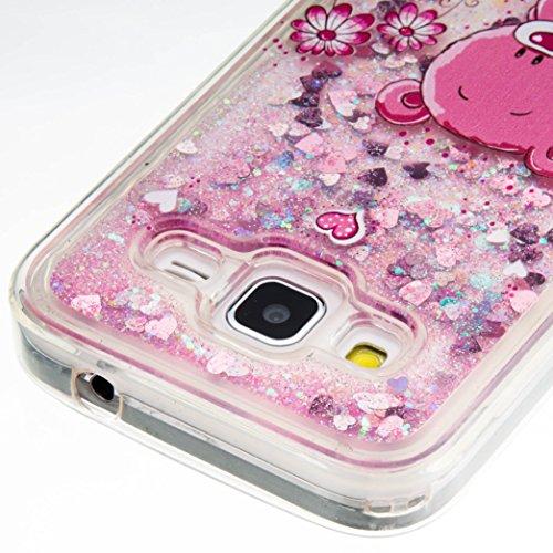 3D Étui soft shell coque pour Samsung Galaxy Core Prime SM-G360, SM-G361F TPU coque soft shell couvercle de batterie étui coque de protection eau avec Design boule de neige étoile en rose clair transparent +Bouchons de poussière (10UU)