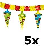 Folat 61316–Banner/Guirnalda escolar Principio–escolar Bolsa–Aprox. 4m largo–Aprox. 25cm de alto–5Unidades.