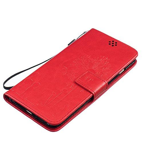 Cozy Hut Lover Dandelion Pattern Gemalt PU Leder Wallet Case Folio Schutzhülle für iPhone 6 Plus / 6S Plus (5,5 Zoll),Smartphone Handytasche Etui Schale Handy Tasche Flip Cover in PU mit Standfunktion Rote