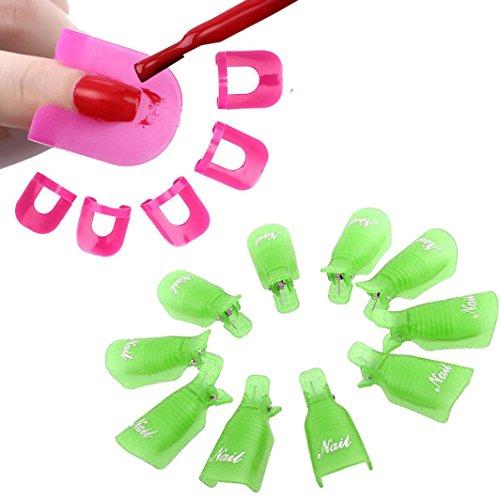 Tonsee 10Pcs Nail Art Soak Off Cap clip UV Gel Polish Remover Wrap+26pcs Nail Modèle Spill Protector manucure Preuve Outils, Vert