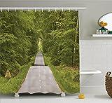 Woodland Décor Rideau de douche Ensemble par Ambesonne, d'enroulement de la route et dense Forêt qui Mène au Paysage de Lyons-la-foret, accessoires de salle de bain, 69W X 70L souple