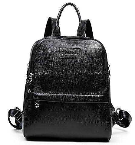 BOSTANTEN Women Genuine Leather Backpack Purse Satchel Shoulder School Bag Rucksack for College Black