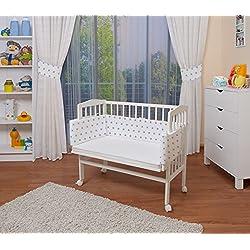 WALDIN Cuna colecho para bebé, cuna para bebé, con protector y colchón, lacado en blanco,color textil blanco/estrellas gris
