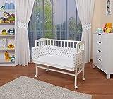 WALDIN Baby Beistellbett mit Matratze und Nestchen, höhen-verstellbar, 16 Modelle wählbar, Buche Massiv-Holz weiß lackiert,Sterne-grau