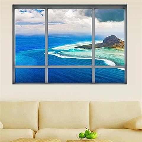 Wmshpeds Fausses fenêtres 3D créatif stickers décoration salon chambre à coucher
