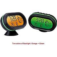 Yosoo 12V Termómetro digital del voltímetro del reloj de alarma del monitor, multifuncional Autometer voltaje