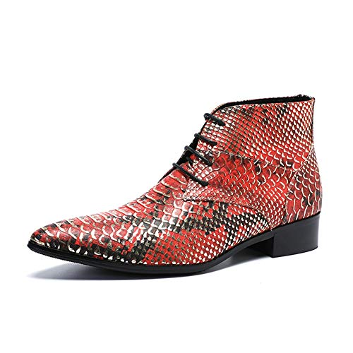 QZX Shoes Herren Cowboystiefel Cowboy Stiefel Westernstiefel Stiefeletten Lederstiefel Leder Ankle Biker Western Stiefel Cowboy-Stiefelette,Red,EU44/UK10 - Männer Western-stiefel