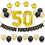 BESTOYARD 23 Stücke 50th Happy Birthday Dekorationen Party Supplies Aluminium Folienballons Bunting Banner Latex Ballon Set