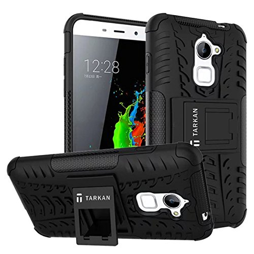 TARKAN Rugged Hard Armor Hybrid Rubber Bumper Flip Stand Rugged Back Case Cover For Coolpad Note 3 Lite [Black]  available at amazon for Rs.199