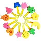 TOYMYTOY 12pcs spugna pittura pennelli set creativo fiore timbro fai da te arte pittura strumenti pennello con rullo tondo spazzole per bambini bambini disegno