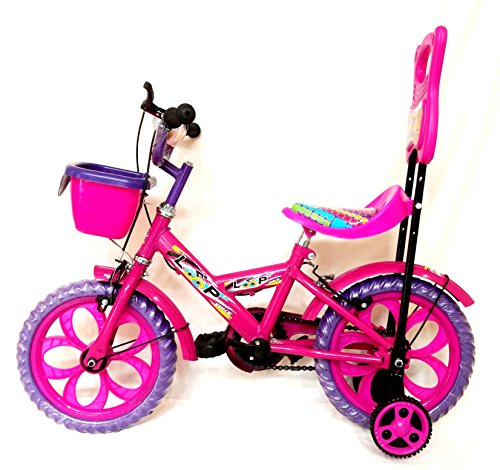 Loop Cycles Aqua Pink Purple 14 Inches Semi Assembled Bicycle For 3 to 5 Age Group