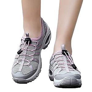 TianWlio Sneaker Damen Freizeit Mesh Wear Resistant Schnüren Rutschfeste Sportschuhe Flache Turnschuhe Purple Hot Pink Gray 35-40