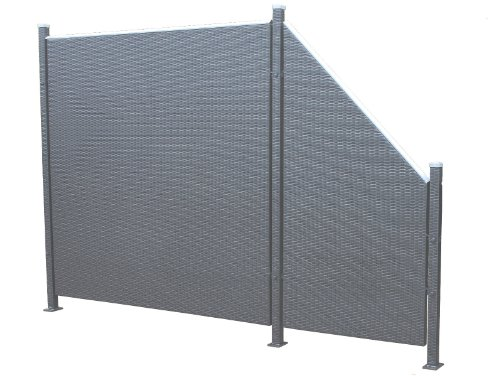 Prime Tech Poly-Rattan Sichtschutz / Zaun, Set 5-teilig in anthrazit / grau