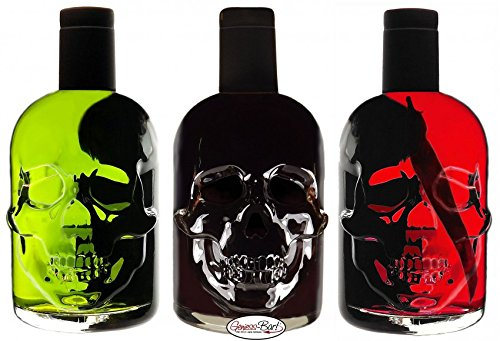Absinth Totenkopf Trio je 0,5L Green/Black/Red Chili mit max. erlaubtem Thujon 35mg/L 55% Vol