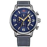 modiwen Herren Lederband Quarz Sport ursächliche Uhren mit wasserdicht Business Chronograph Stecker Armbanduhr Analog blau