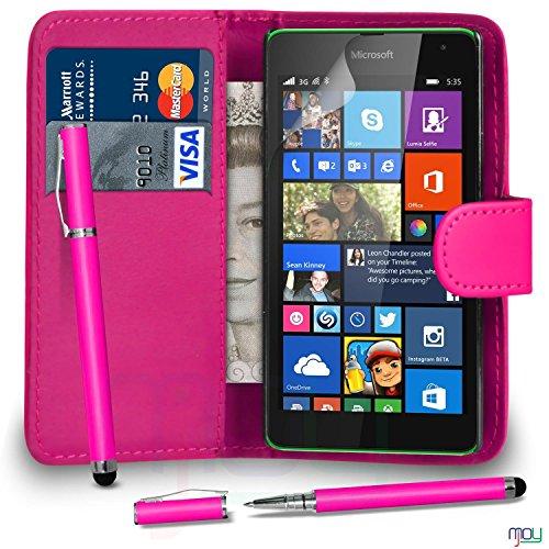Microsoft Lumia 535 Premium Leather di colore rosa caldo di vibrazione del raccoglitore della copertura della cassa + 2 IN 1 penna a sfera PENNINO STILO + Screen Protector & Panno MJOY6 DAL MOBILE JOY, (LIBRO SACCHETTO PINK HOT)