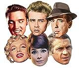 Star Cutouts Ltd SMP67Audrey Hepburn/Steve McQueen/Monroe/James Dean/Elvis/Humphrey Bogart, Hollywood/Party-Maske, Einheitsgröße