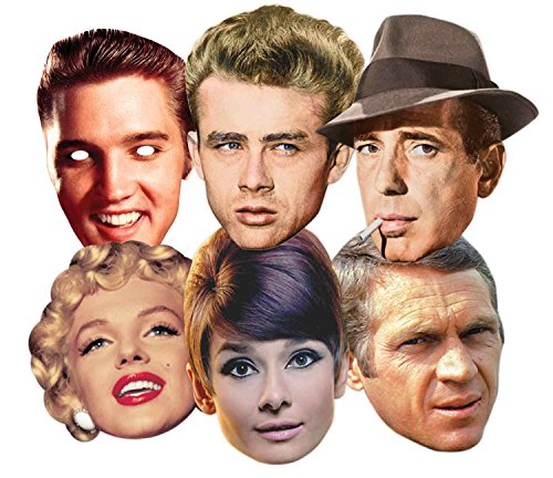Star Cutouts Ltd SMP67 Audrey Hepburn/Steve McQueen/Monroe/James Dean/Elvis/Humphrey Bogart, Hollywood/Party-Maske, - Hollywood Masken Kostüm