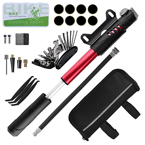 WEStore Fahrrad Reparatur Werkzeug Set Fahrrad Reparaturset Werkzeugtasche mit 120 PSI Mini Pumpe 16 in 1 Fahrrad Repair Tool Reifenheber & Self Adhesive Tube Patch für Home Reisen Outdoor Camping