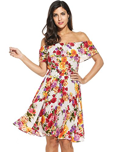 Meaneor Womens Floral Skater Dress Casual Off Shoulder Ruffled Swing Cocktail
