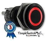 .drivezero. ToughSwitch '19 – Taster schwarz (bis 230V / 5A) mit LED-Leuchtring Rot 12V, staub- und wasserdicht (IP67)