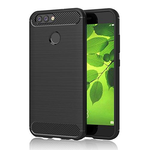 """GeeRic Für Huawei Nova 2 Hülle, Schwarz Silikon Handyhülle für Huawei Nova 2 Handy Schutzhülle Karbon Look Elastisch Stylisch Soft Case Cover 5.0"""""""