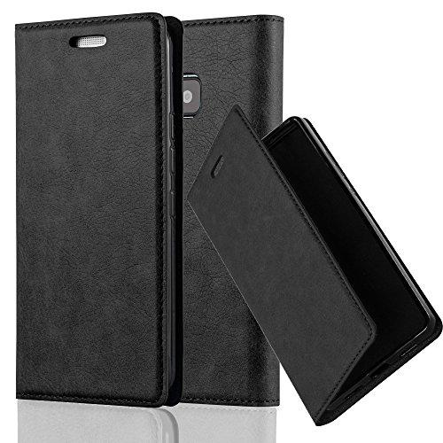 Cadorabo Hülle für HTC ONE M9 (3.Gen.) - Hülle in Nacht SCHWARZ – Handyhülle mit Magnetverschluss, Standfunktion und Kartenfach - Case Cover Schutzhülle Etui Tasche Book Klapp Style