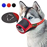 ILEPARK Respirable Bozal de Nylon para Perros Suave Permite Beber, Jadear Bozal Lazo Ajustable (XL,Rojo)
