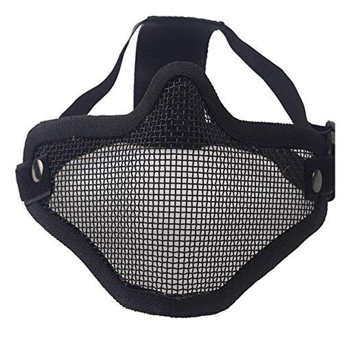 dfhdrtj Taktische Militär-Schutzbrille aus Metall und Netzgewebe + Airsoft Maske für Camping, Picknick und andere Outdoor-Aktivitäten - Black BK Half-face Steel Wire mask(Double Band) -