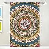 DOSHINE Rideau Voilage Ethnique Tribal Floral Mandala Imprimé pour Porte Fenêtre Chambre Salle de Bain Cuisine Salon 137 x 178 cm 1 Panneau, Polyester, Multicolore, 55'x 84'