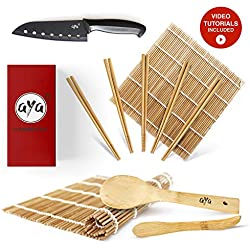 AYA Kit di Sushi bambù Kit con Coltello Sushi Chef - Video Tutorial Online - 2 Tappetini per Arrotolare Sushi - Cucchiaio & Spatola - 5 Paia di Bacchette - 100% Naturali qualità Premium.