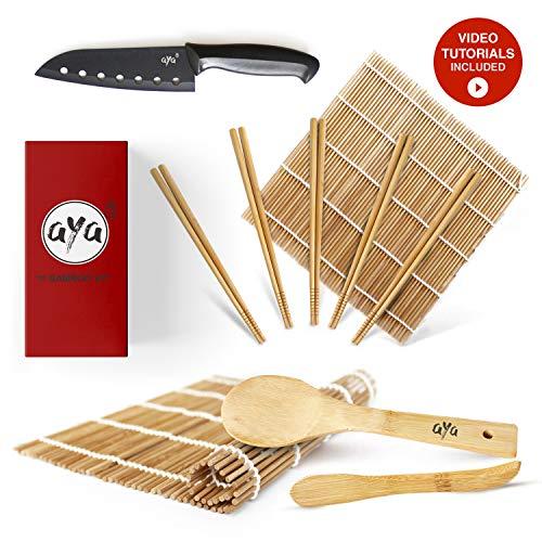 AYA Kit para Sushi - Kit en Bambú Cuchillo de Sushi - Videos Tutoriales en Línea - 2 Esterillas para Enrollar - Esterillas de Bambú 100{deaae300613ad7835ebbd8e61161d796dc135819907a8ccb432225256a51f2c5} Natural de Primera Calidad.