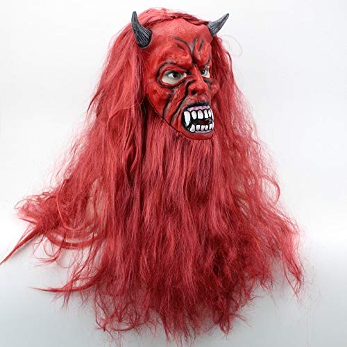 Kostüm Beelzebub - Dodom Beelzebub Satan Maske Rotes Haar Halloween Maske Latex Vollgesichtsmaske Cosplay Horror Maskerade Maske Ghost Party