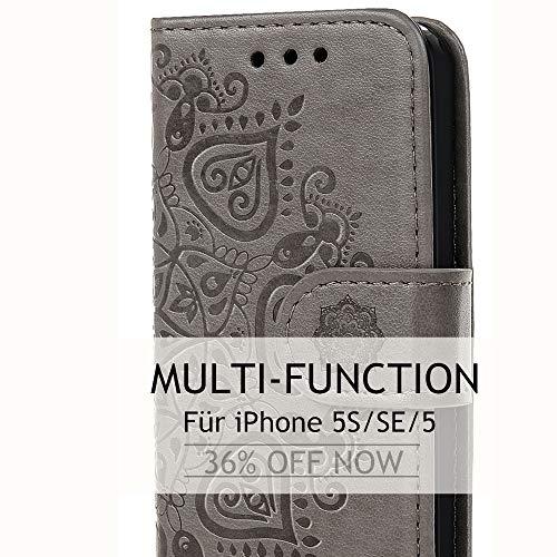 Handy Hülle für iPhone 5S SE 5 Leder Flip Wallet Cover Stand Case Card Slot Leder Tasche Karteneinschub TPU 2 in 1 Combo Karteneinschub Magnetverschluß Kratzfestes (Grau Hälfte Blume)