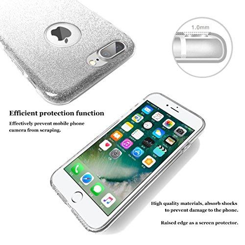 iphone 7 plus case, Hanlesi lucida copertura [bling chiarissimo] [slim fit] 3 strato ibrido con brio premio trasparente tpu custodia per apple iphone 7 Plus 5,5 Inch Silver