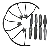 SODIAL(R) Upgraded Main Blade Propellers for TIANQU VISUO XS809 XS809HC XS809HW XS809W Drone CCW CW Propeller Guard Protectors Replacement RC Quadcopter Spare Parts Set Black by SODIAL