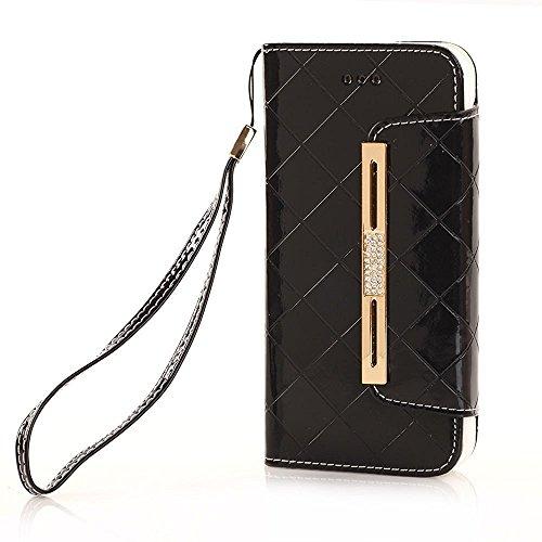 iPhone 8 Brieftasche Hülle, elecfan Mädchen PU Leder Stand Decke Flip Lady Multi Umschlag Wristlet Handtasche Geldbörse Fall mit Karten Slots Kartenhalter (iPhone 8, Schwarz-A01) (Brieftasche Handtasche Fall)