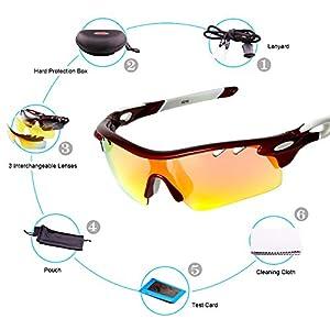 VILISUN Gafas de Sol Deportivas Polarizadas,100% TR90 UV400 Unisex Gafas de Ciclismo con 3 Lentes Intercambiables,Marco Irrompible,Antiniebla,lentes impermeables para Deporte y Aire Libre Ciclismo Conducción Pesca Esquiar Golf Correr (Rojo)
